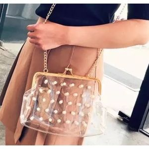 Clear Jelly Pearl beaded accent Purse evening bag